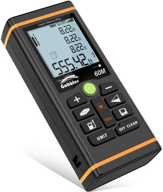 Gobbler Laser Distance Meter 60m Laser Distance Measurement Device 60m | Digital Measuring Tape | Backlit LCD and Pythagorean Mode, Measure Distance, Area and Volume - with Pouch (GBLD-60m) Non-magnetic Electronic Level