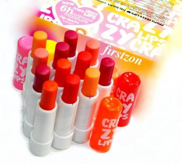 villosa crazy lips color lip balm combo pack of 12 MIX (Pack of: 12, 3 g) Multi Flavor