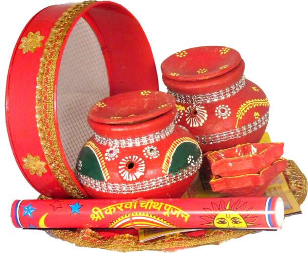 SUNINOW Suninow Terracotta karwa with Karwachauth thali | karwachauth pooja thali set Silver Plated