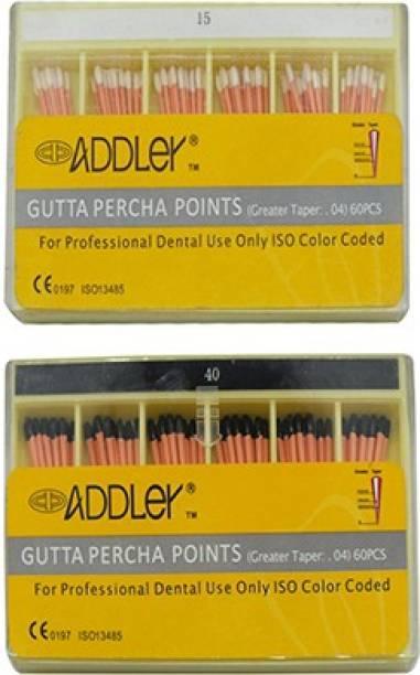 ADDLER DENTAL GUTTA PERCHA POINTS 4% (2X60 Sticks Each) SIZES:- 15, 40. TOTAL 2 PKTS