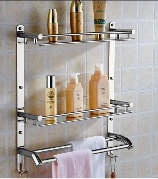 GRIVAN Stainless Steel Double Layer Shelf with Towel Road, Multipurpose Wall Mount Bath Shelf Organizer, Kitchen Shelf/Bathroom Shelf and Rack/Bathroom Accessories Silver Towel Holder