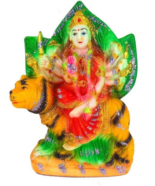 BLISSFUL Goddess Durga Idol Handicraft statue Sherawali Mata Rani, Maa Durga Devi Spiritual Pooja Figurine Unbreakable Religious Murti Pooja Gift Item for Home Décor / Temple / Living Room / Table / Office Decorative Showpiece  -  15 cm