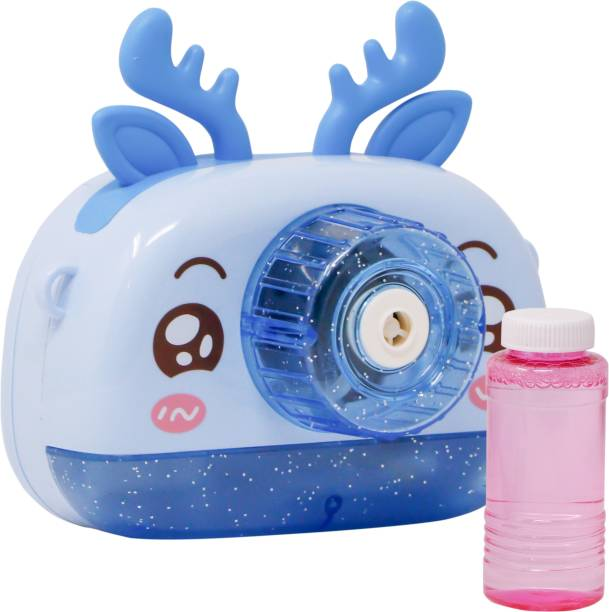 FIDDLERZ Cute Camera Shape Bubble Machine with Bubble Solution- Battery Operated Bubble Machine for Parties, Weddings, Indoor and Outdoor Activities, Automatic Bubble Blower for Kids (Blue) Toy Bubble Maker