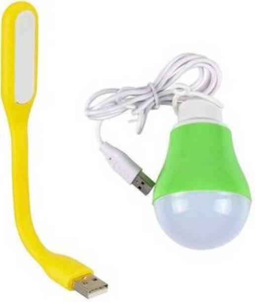 Afpin Multicolor Usb Light & 5W Usb Bulb Combo of Portable & Flexible USB Wired Bulb + USB Led Light (Multicolor) Use with Laptop/Desktop/Power Bank/Notebook/OTG Led Light