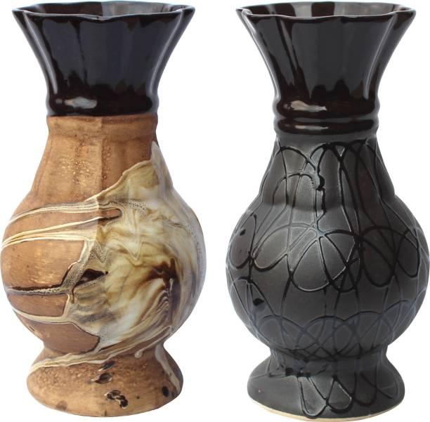 Wauood Round Ceramic Flower Vase Combo Flower Pot Handmade Ceramic Vase for Home Décor and Office Decor Pack of 2 Ceramic Vase