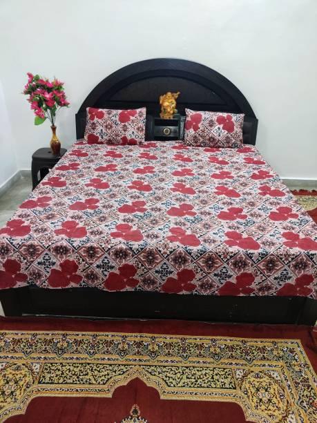 CALLA VINE HOME DECOR 160 TC Polycotton Double Floral Bedsheet
