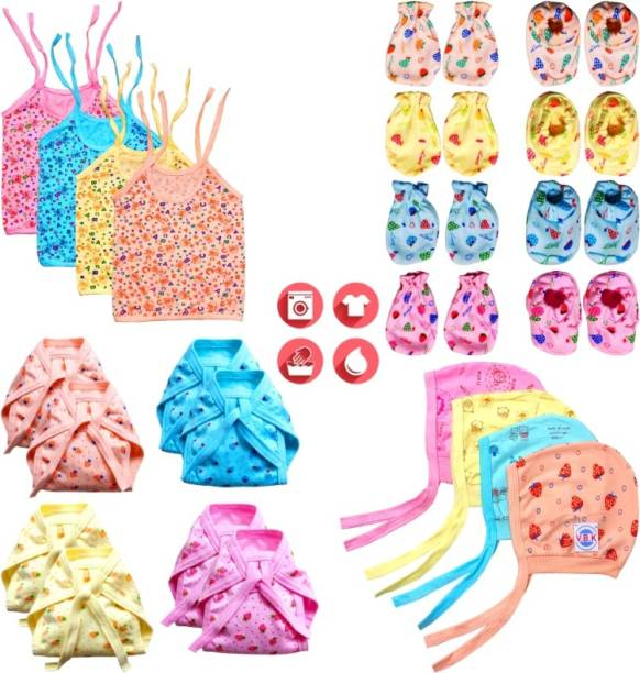 V.B.K Born Baby All In One Combo Pack, Zhabla (4 Piece), Nappy (Langot) (8 Piece), Hand Mittens (4 Pair), Leg Booties (4 Pair) and Cap (4 Piece), All Hosiery Soft Cloth, 0 to 4 Months