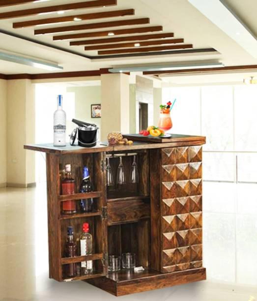 Allie Wood Sheesham Wood Bar Cabinet Rack for Home (Natural Brown Finish) Solid Wood Bar Cabinet