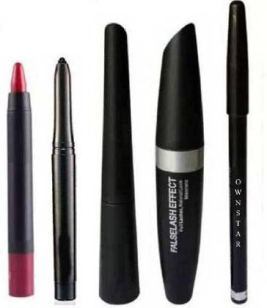 Ownstar Eyebrow Pencil Black & Liquid EyeLiner & Mascara & KaJal ( 4in1) + lipstick