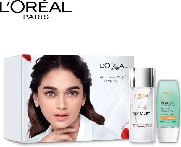L'Oréal Paris Aditi's Skincare favourites Kit: Revitalift Crystal Micro essence 65ml + UV Perfect Matte & Fresh