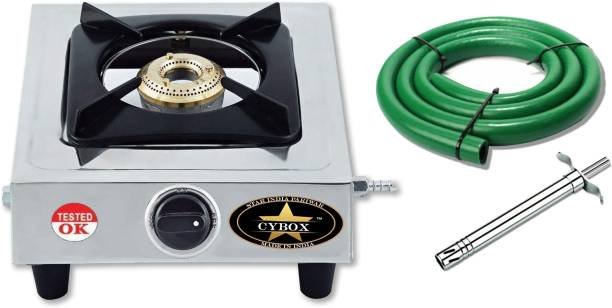 CYBOX Heavy Quality Single Gas Stove With ISI Pipe and Lighter Cast Iron Manual Gas Stove