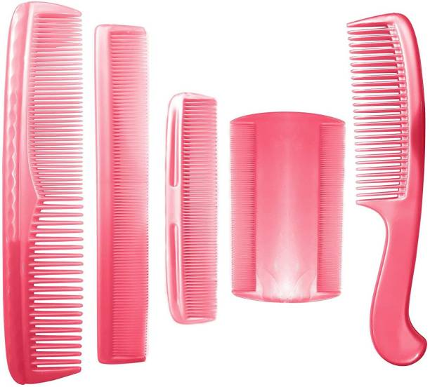 CRAZYGOL Combo Of 5 Pcs Plastic Hair Comb Set For Women And Men Use 25 Grams Baby Pink