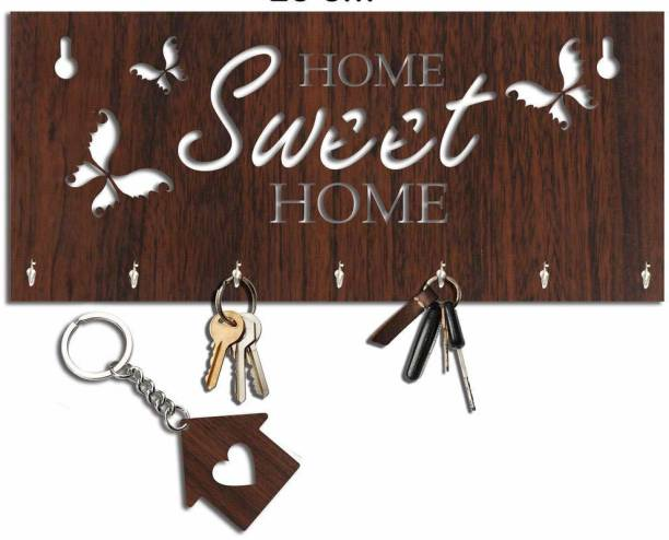 Arpita Crafts Butterfly Design Home Sweet Home Wood Key Holder