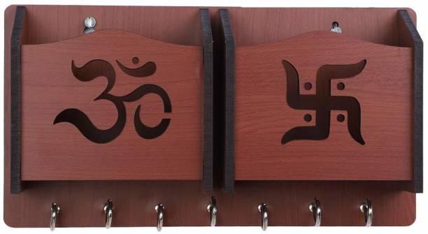 Arpita Crafts Om and Swastik Red Wood Key Holder