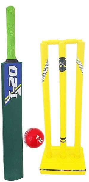 Jaspo T-20 Wooden Cricket Set(Size-5)(1 Wooden bat,1 T-20 Ball,3 Plastic Stumps,2 Bail) Cricket Kit