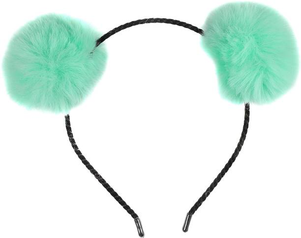 MaBelle POM-POM/Synthetic Fabric Trendy Cat Ears Hairband / Headband for Kids and Girls ,-01 Piece/Strong Grip/Soft & Smooth Premium Quality - Aqua Makeup Headband