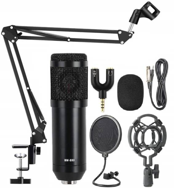 Techtest BM800 Condenser Microphone Mic Kit with Adjustable Mic Suspension Scissor Arm Stand and Shock Mount and Double-Layer Pop Filter for Studio Recording & Broadcasting With Splitter Condenser Microphone