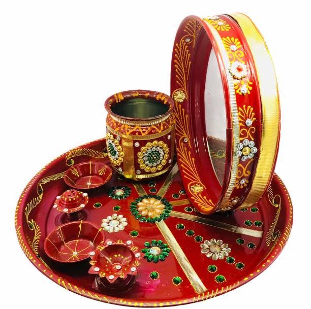 Dhandevi textiles Stainless Steel Karwa Chauth 7 Pieces Decorative Pooja Thali Set ( Red) ( Thali Size 9'') Steel