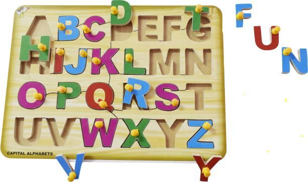 FUNTEEN English Capital Alphabets Wooden Puzzle