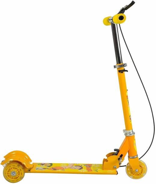Vasoya Enterprise Plastic 3-Wheel Height Adjustable Folding Kick Scooty Scooter Toy for Kids (Blue)