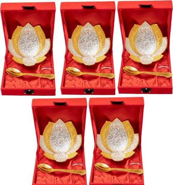 Arsalan MODI 4 INCH BOWL GOLD AND SILVER SET OF FIVE Bowl Serving Set
