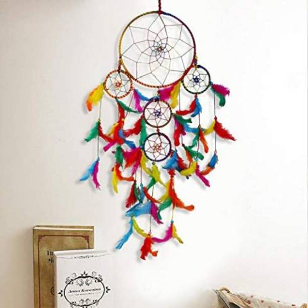 DULI Windchime Wall Hanging Handmade Wall Art for Bedrooms, Office, Balcony, Outdoors, Garden, Home Wall, Hanging Design, Height, Large, Brings Positive Energy Wool, Feather Dream Catcher