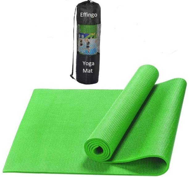 effingo YOGA or FABRICATED MAT With Bag Non-Skid Premium Quality With Comfort (Green 4MM) Green 4MM mm Yoga Mat