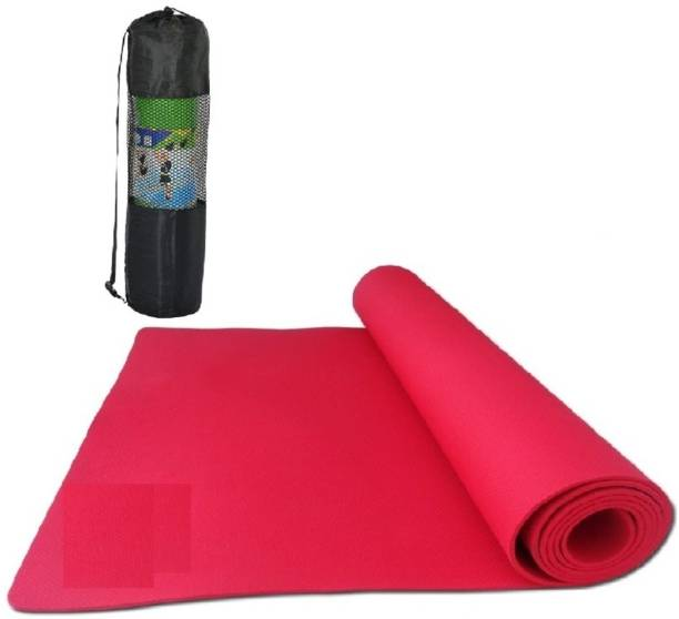 effingo YOGA or FABRICATED MAT With Bag Non-Skid Premium Quality With Comfort (Red 4MM) Red 4MM mm Yoga Mat