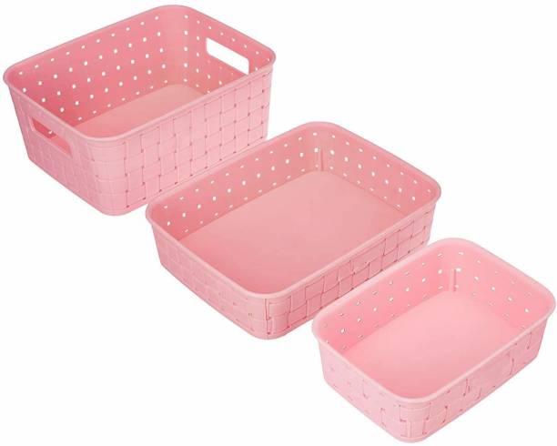 AMAR IMPEX New Multipurpose smart Basket set of 3 Pink Storage Basket Storage Basket