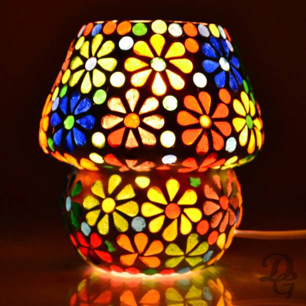 Decent Glass Decorative Mosaic Glass Table Lamp (Multicolor) 13cm Night Lamp