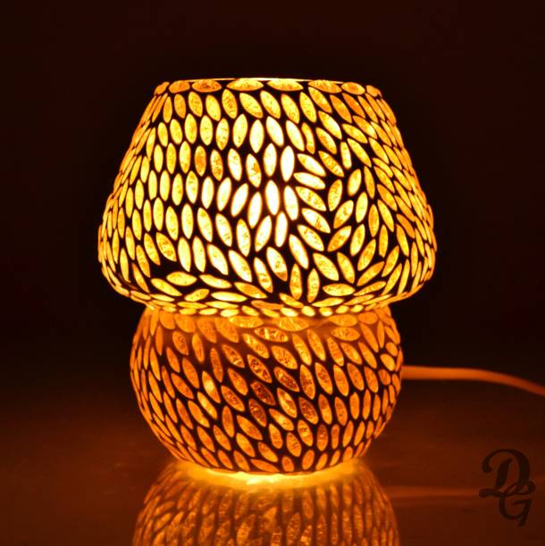 Decent Glass Orange/Yellow Color Beautiful Mosaic Table Lamp For Bed Side Handcrafted Glass Lamp Night Lamp