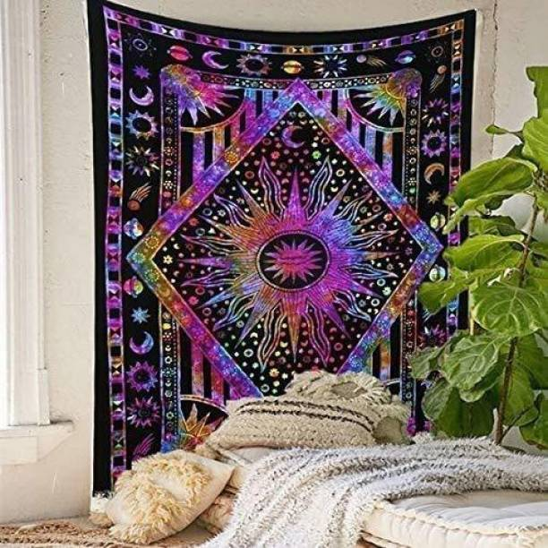 Art World Dimond Sun Moon Stars Tie Dye Mandala Tapestry