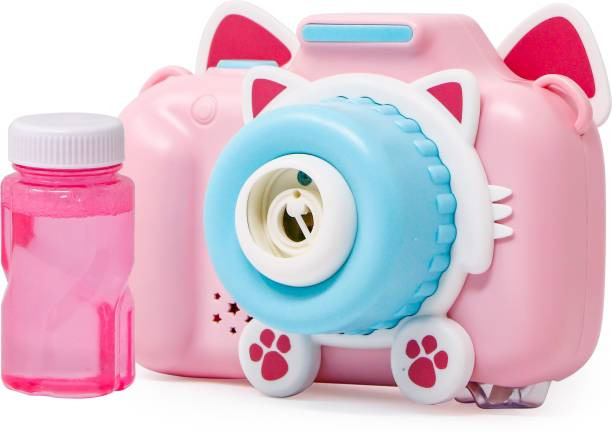 zest 4 toyz Cute Cartoon Shape Camera Bubble Machine with Bubble Solution- Battery Operated Bubble Machine for Parties, Weddings, Indoor and Outdoor Activities, Automatic Bubble Blower for Kids (Pink) Toy Bubble Maker
