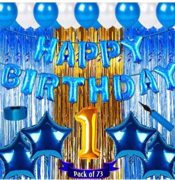 Viraat Solid Blue Birthday combo for 1 Year old baby (Pack of 73) Balloon
