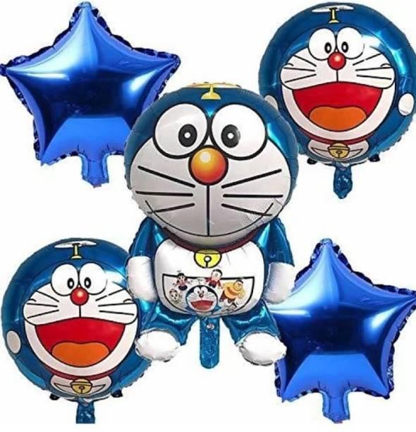 Viraat Solid Doremon Foil balloon (Pack of 5) Balloon Bouquet