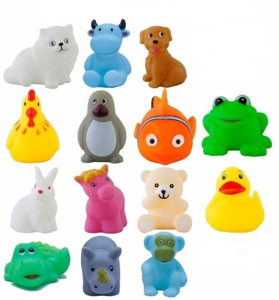MGT CREATION 12 Pcs Mix Cute Animals Swimming Water Toys Non-Toxic , Colorful Soft Rubber Float Squeeze Sound Squeaky Bathing Toy for Baby Bath Toys Chu Chu Toy Set Bath Toy