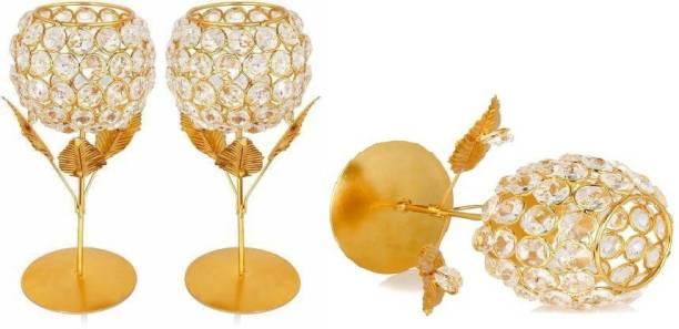 Grostar Gold Plated Brass 3 - Cup Tealight Holder Set Brass Candle Holder