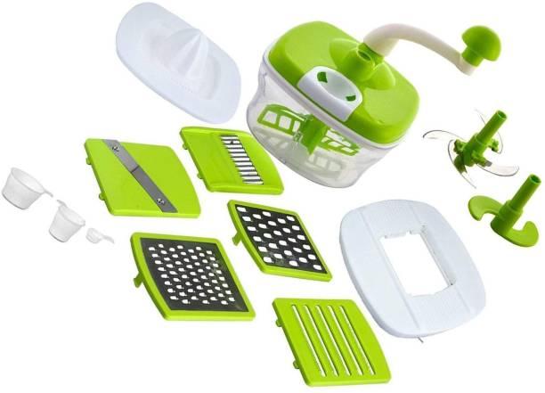 KITCHEN INDIA Advance (10 in 1) Blue Food Processor, Dough Maker, Juicer, Chipser, Vegetable Cutter Plastic Detachable Dough Maker