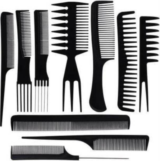 awq 10Pcs Pro Salon Hair Cut Styling Hairdressing Barbers Combs Brush Set