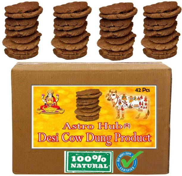 ASTRO HUB Cow Cake for hawan, Cow Dong Cake, Cow Dung Cake, Cow Dung Cakes, gobar upla 42 Pcs