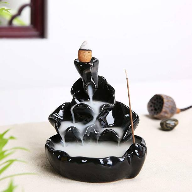 Paper Torch Smoke Backflow Cone Incense Holder | Smoke Dropping Fountain | Smoke Fountain | Smoke Fountain Statue for home decor | Religious Idols Smoke Backflow Incense Burner with 10 free Smoke Backflow Incense Cone | Incense Sticks for Home Decor| Incense Burner for Car Decor, Gifts And Home|Smoke Waterfall|Smoke Fountain| Statues|Statue for car|Showpieces for gift|Showpieces in home| Showpieces & Figurines Polyresin Incense Holder