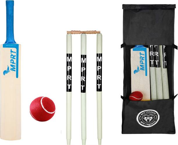 MPRT Wooden Cricket kit Bat Size 5 For Age Group 10-12 Years (1 Piece Cricket Bat, 3 Piece Wickets, 2 Piece Bails, 1 Piece Ball, 1 Piece Kit Bag) Cricket Kit