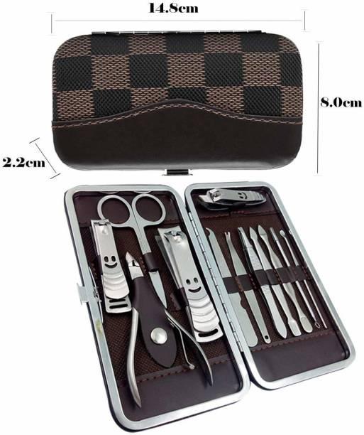 BARBERPROFESSIONAL 12 pcs Portable Manicure Set Pedicure Scissor Tweezer Knife Utility Nail Clipper Kit Stainless Steel Nail Care Tool