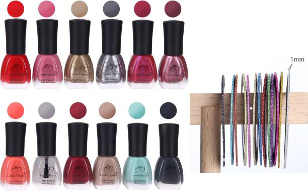 Looks United 12 Premium Colors Nail Polish (6ML Each) With 10 Nail Art Rolls Multicolor