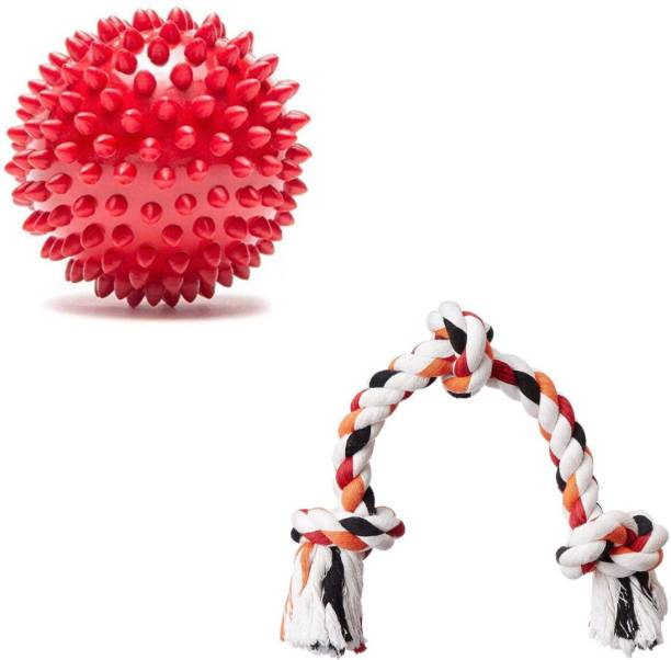 Paaltu Toy Combo (Spike Ball+3 knot) Cotton, Rubber Chew Toy For Dog