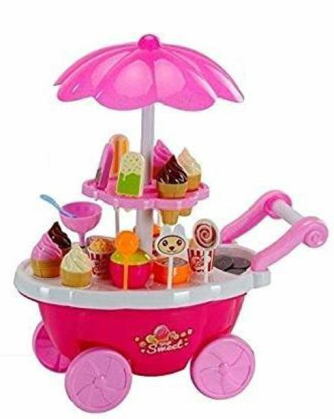 Smartcraft Ice Cream Play Cart Kitchen Set Toy with Lights and Music (Small; Multicolour) ( Battery Included)