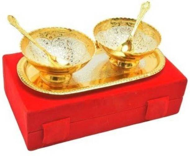 Grostar Specail Diwali Gifts Gold Plated Set of 2 Brass Bowls (Capacity-150 ml), 2 Spoons and 1 Tray, Serving Set Bowl, Spoon, Tray Serving Set