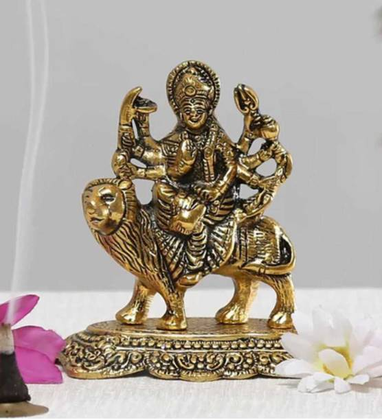 Fashion Bizz Goddess maa Durga Murti In Metal Antique Gold Finish Decorative Showpiece  -  12.7 cm