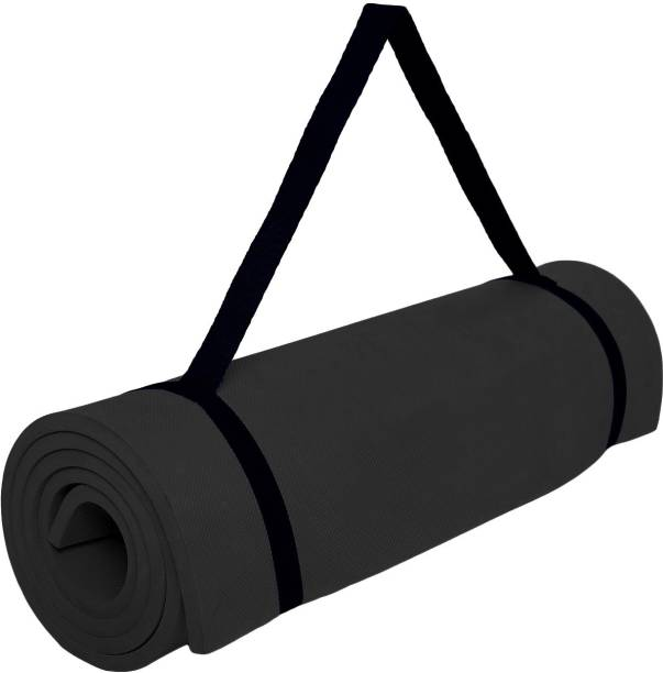 Fitness Mantra Anti Skid Yoga , Exercise & Gym Mat with Strap Black 6 mm Yoga Mat
