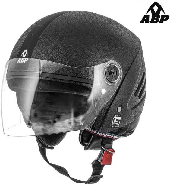 ABP S2E Motorsports Black ISI Mark Open Face Motorbike Helmet (Matte) Motorbike Helmet